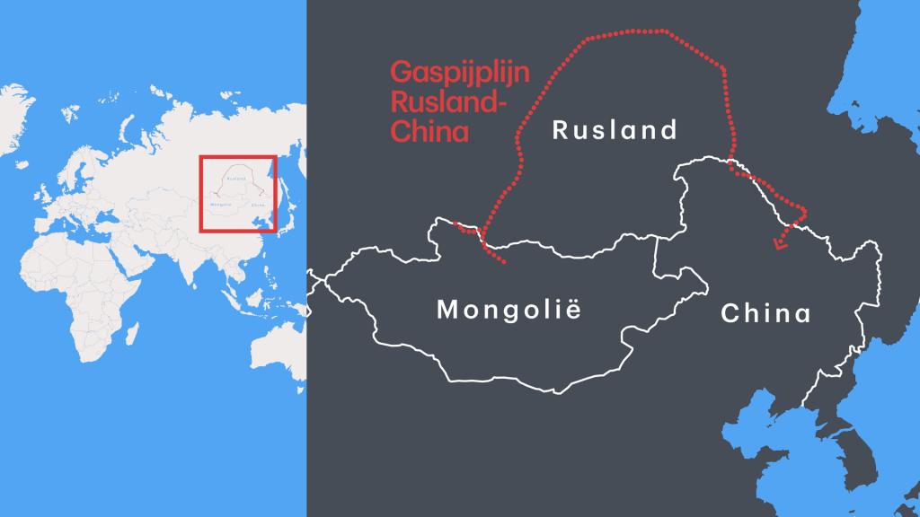 De 'Power of Siberia' loopt van het oosten in Rusland naar het noorden van China.
