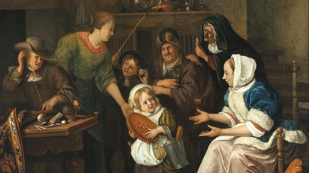 Uitsnede van Het Sint-Nicolaasfeest van  Jan Steen, ca. 1668