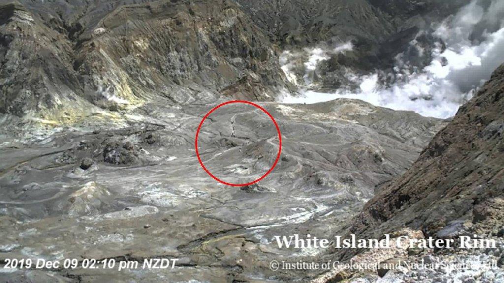Kort voor de uitbarsting waren er mensen in de krater