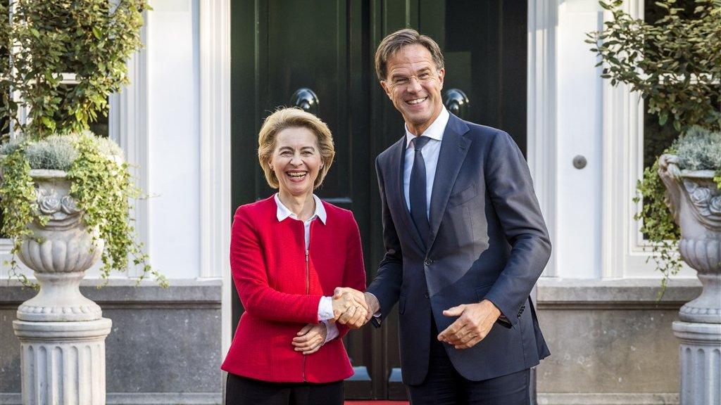De nieuwe Commissievoorzitter Von der Leyen op bezoek bij premier Rutte afgelopen september.