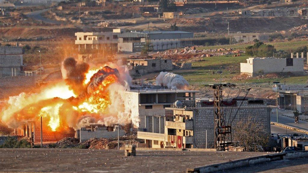 Een luchtaanval op de Syrische stad Maaret al-Numan op 18 december.