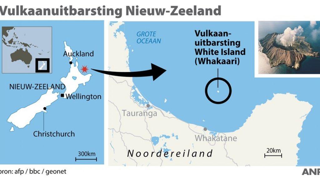 De locatie van White Island, waar de vulkaanuitbarsting plaatsvond.