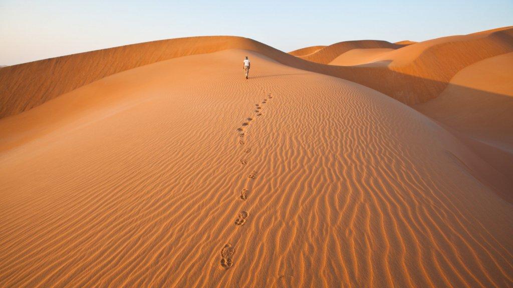 Zandduinen in de Rub al Khali woestijn in Oman