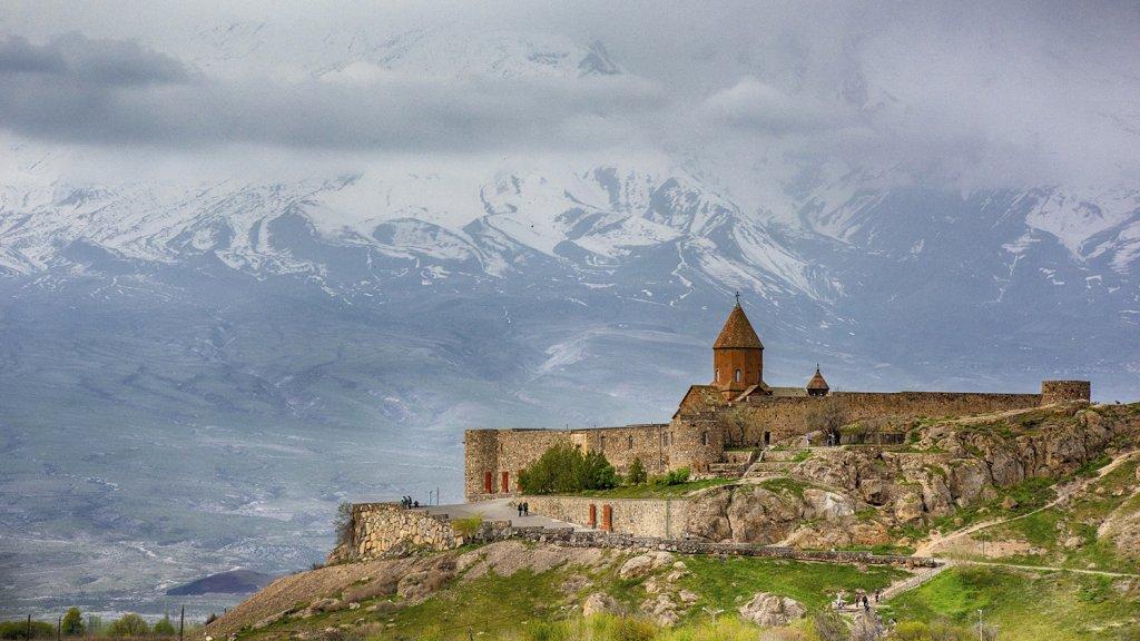 Het Khor Virap klooster in Armenië.