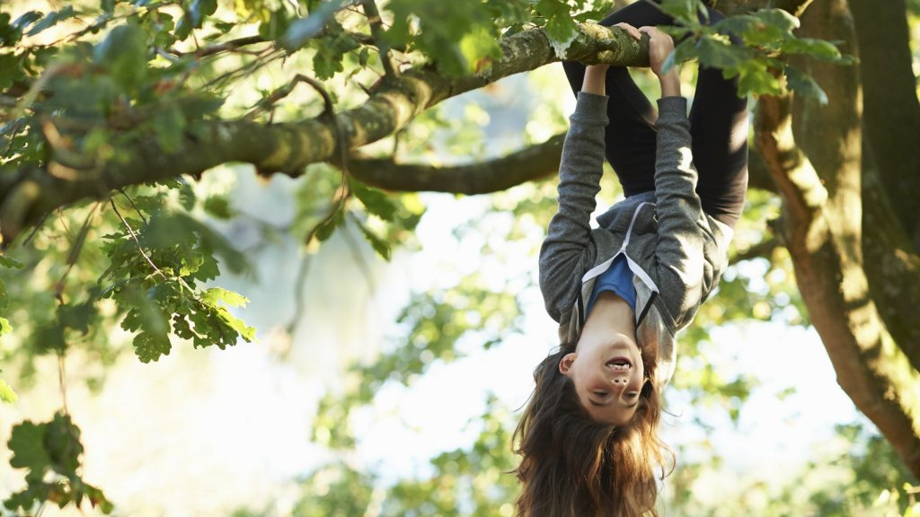 Spelend kind hangend in een boom, archieffoto.