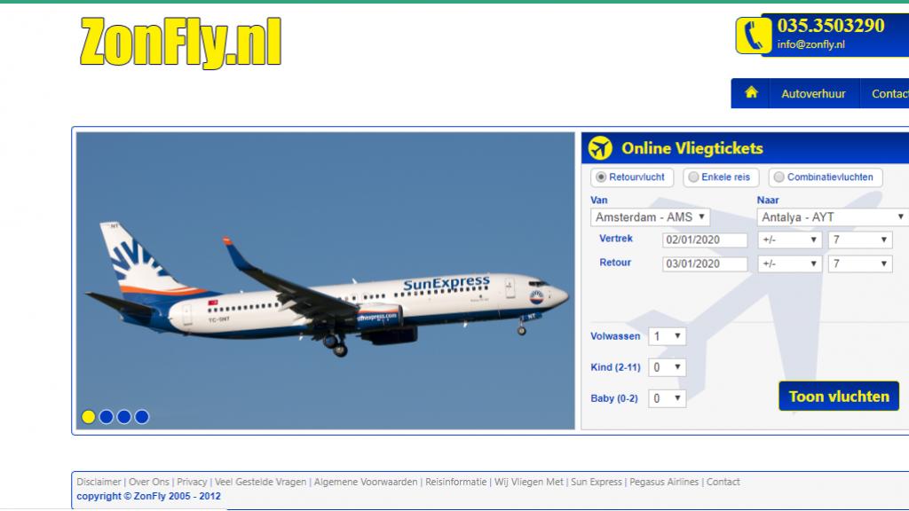 Screenshot van de voormalige website van Zonfly