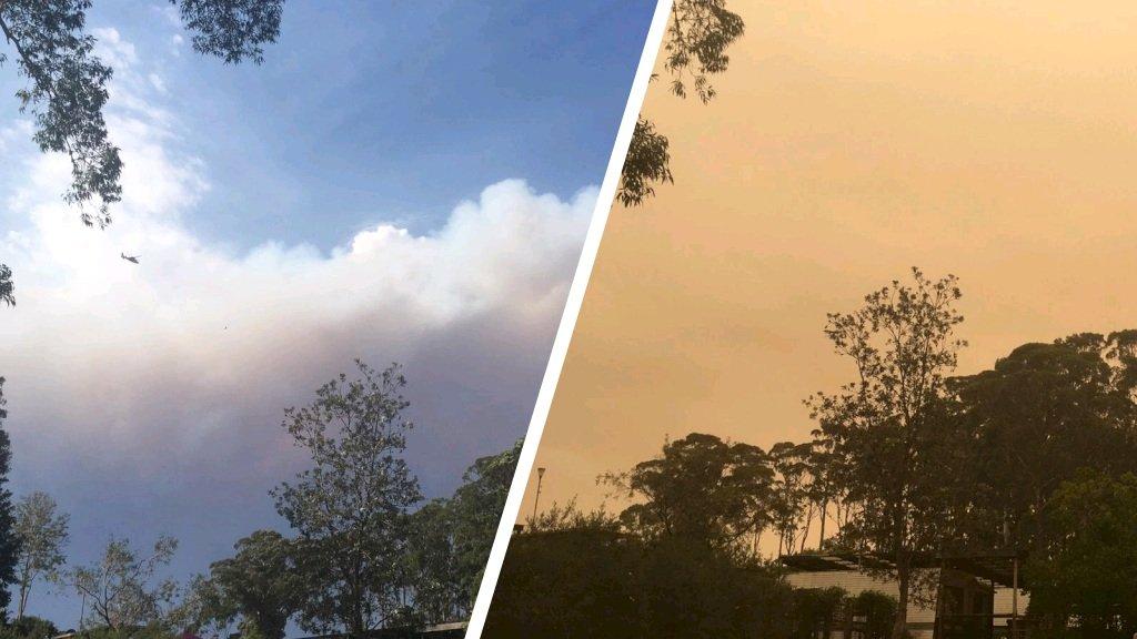 Start van bosbrand bij Batemans bay (links) en de situatie niet veel later (rechts)