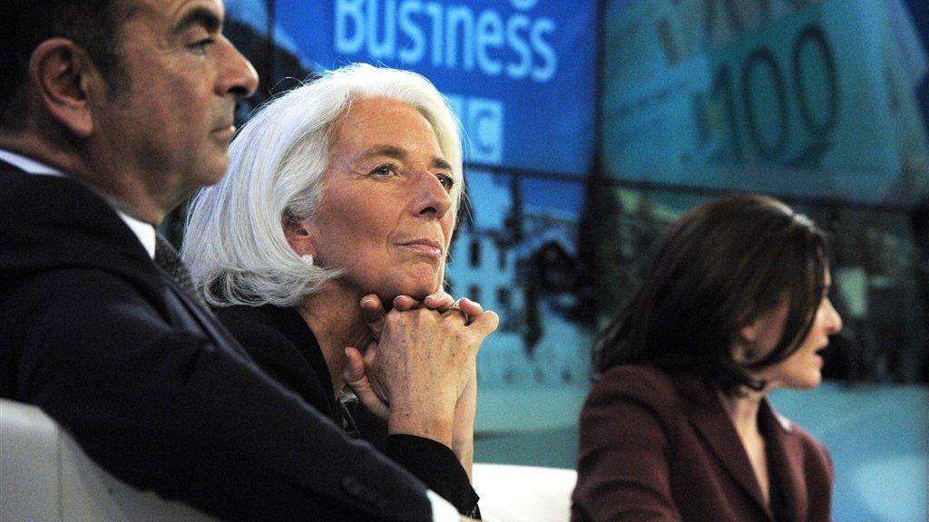 Ghosn in betere tijden: met IMF-directeur Christine Lagarde (nu ECB-president) en Facebook-directeur Sheryl Sandberg op elitecongres World Economic Forum in Davos in 2014.