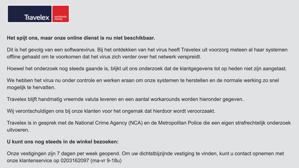 De website van GWK Travelex is nog steeds offline na de ransomware-aanval.