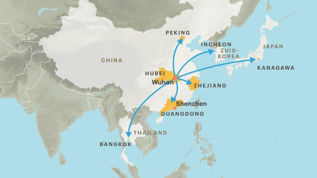 In verschillende Aziatische landen zijn mensen besmet geraakt met het nieuwe coronavirus.