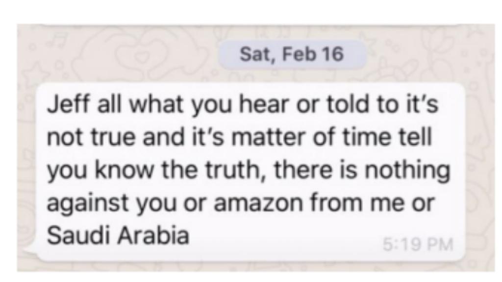 Het berichtje van Bin Salman aan Bezos.