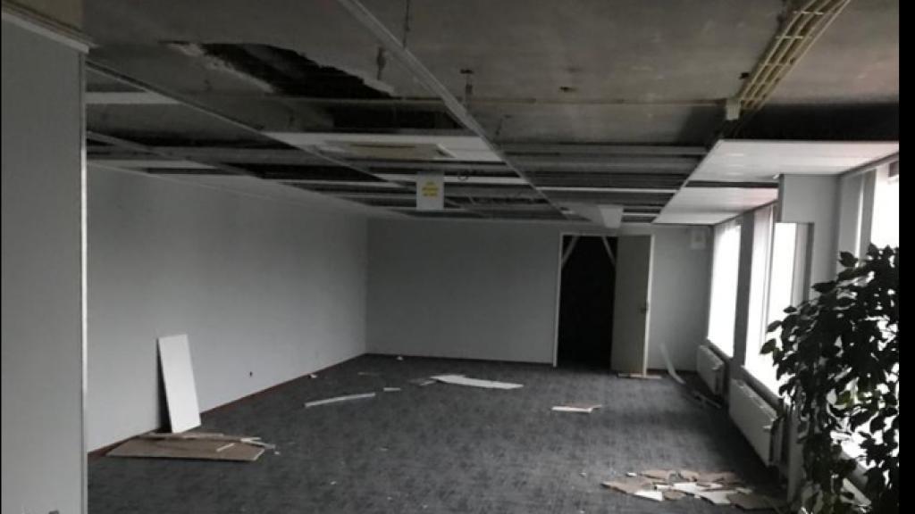 De gesloopte kantoorruimte in het Rotterdamse pand van Key Music.