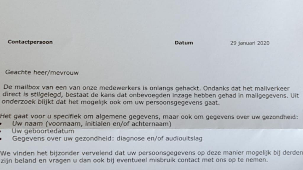 De brief die Pro Persona naar cliënten stuurde.