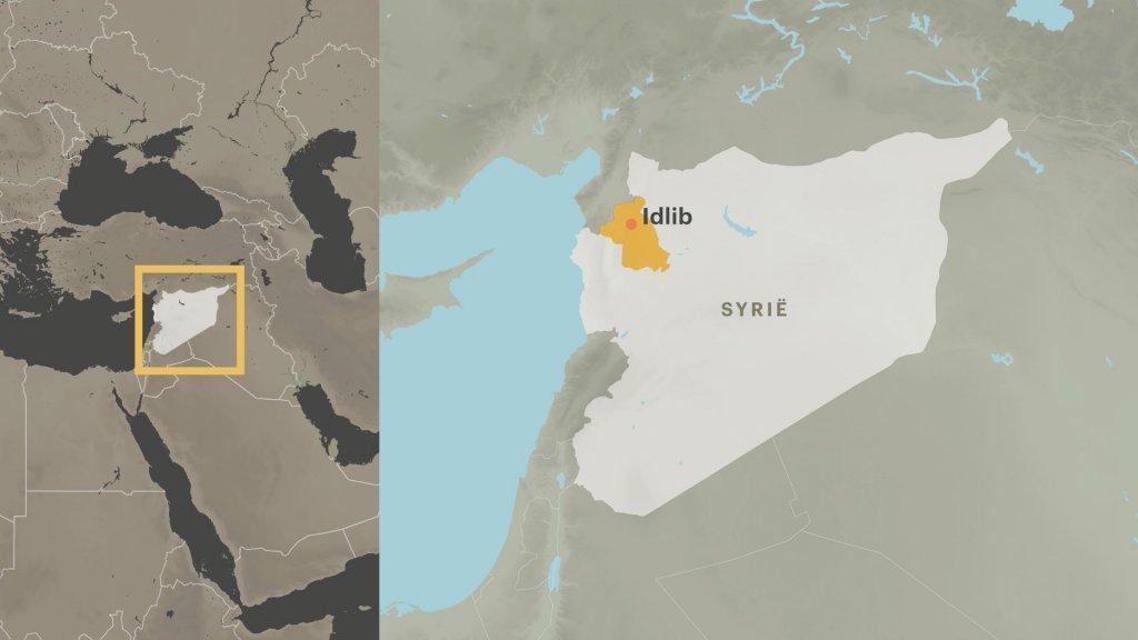 Kaart Syrië en provincie Idlib aan grens Turkije