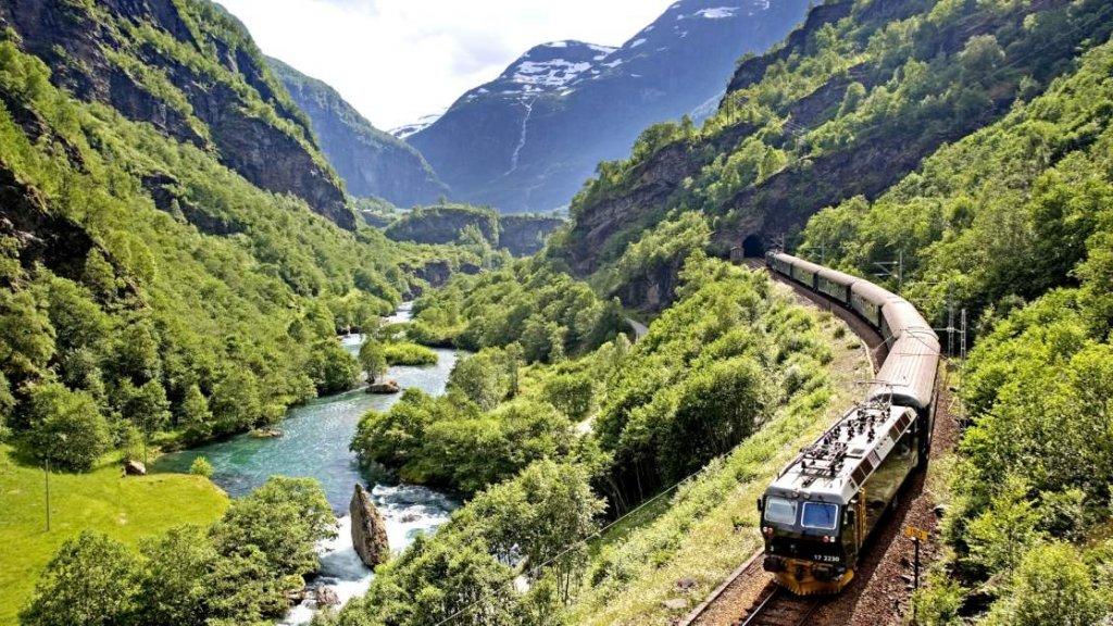 De Flåmspoorweg in Noorwegen.