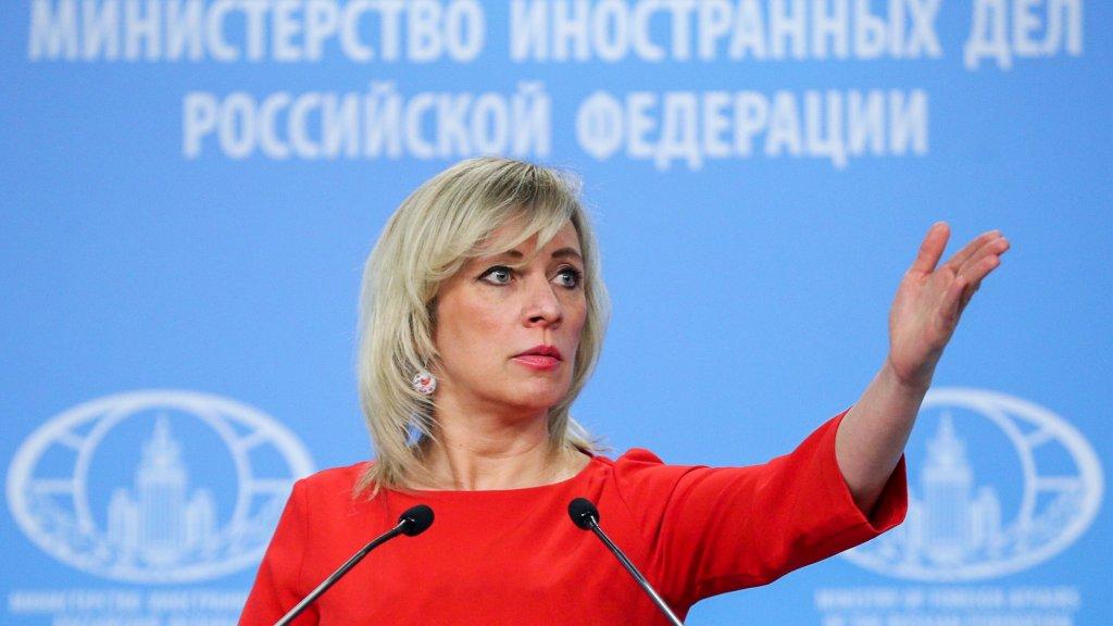 Regeringswoordvoerder Maria Zacharova tijdens de persconferentie.