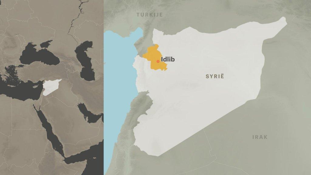 De provincie Idlib ligt pal aan de grens tussen Syrië en Turkije.