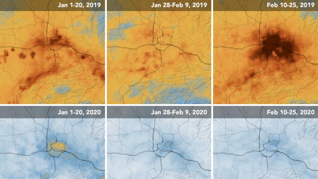 In de afgesloten stad Wuhan is de uitstoot afgenomen blijkt uit de vergelijking tussen 2019 en 2020.