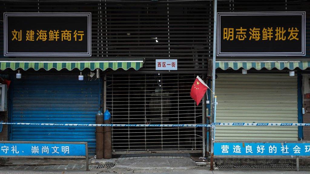 De Wholesale Seafood Market in Wuhan werd gesloten.