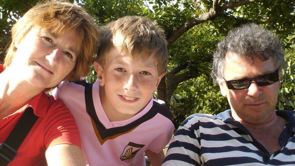 Tina, Erik en hun zoon Zeger in 2008.