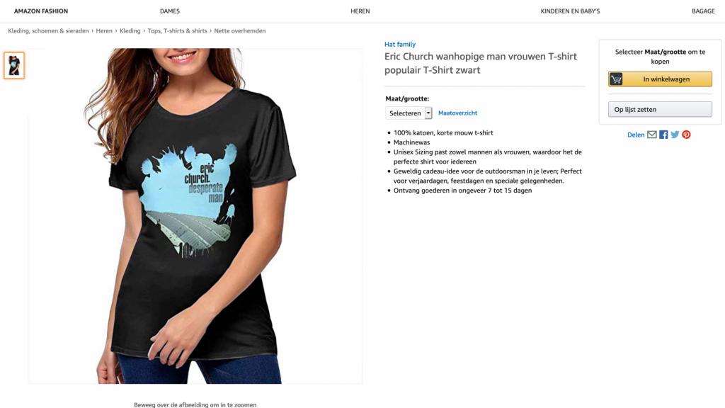 Een t-shirt met de artwork van het album Desperate Man van Eric Church.