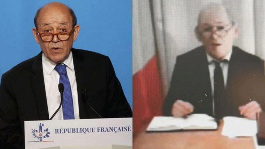 Oordeel zelf: links de echte Le Drian, rechts de imitator (still uit skypegesprek)