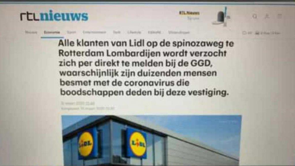 Nepnieuwsbericht, ogenschijnlijk afkomstig van de site van RTL Nieuws.