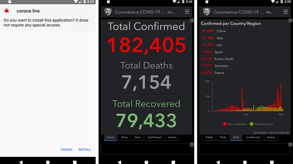 Screenshots van de Corona Live-app.