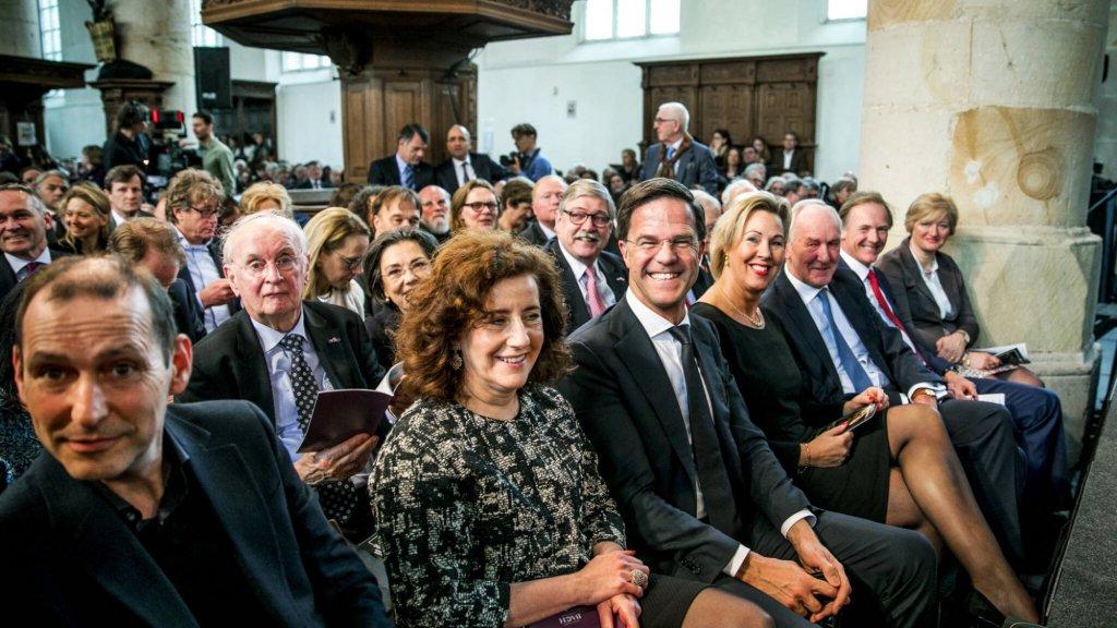 Premier Rutte in de kerk van Naarden bij een van de afgelopen opvoeringen