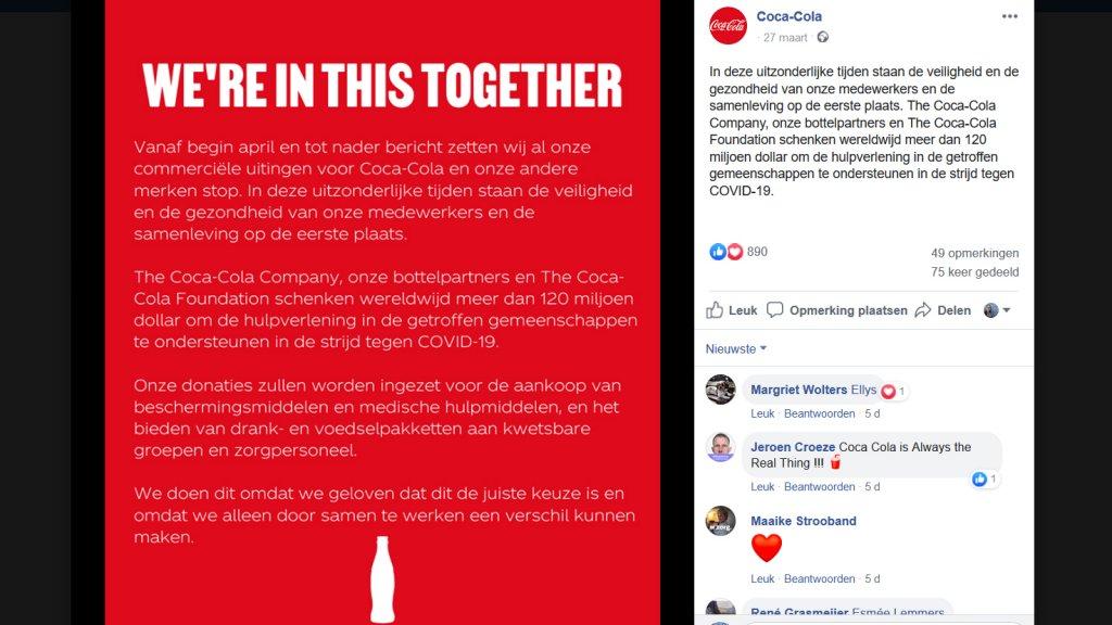Aankondiging van Coca Cola op Facebook.