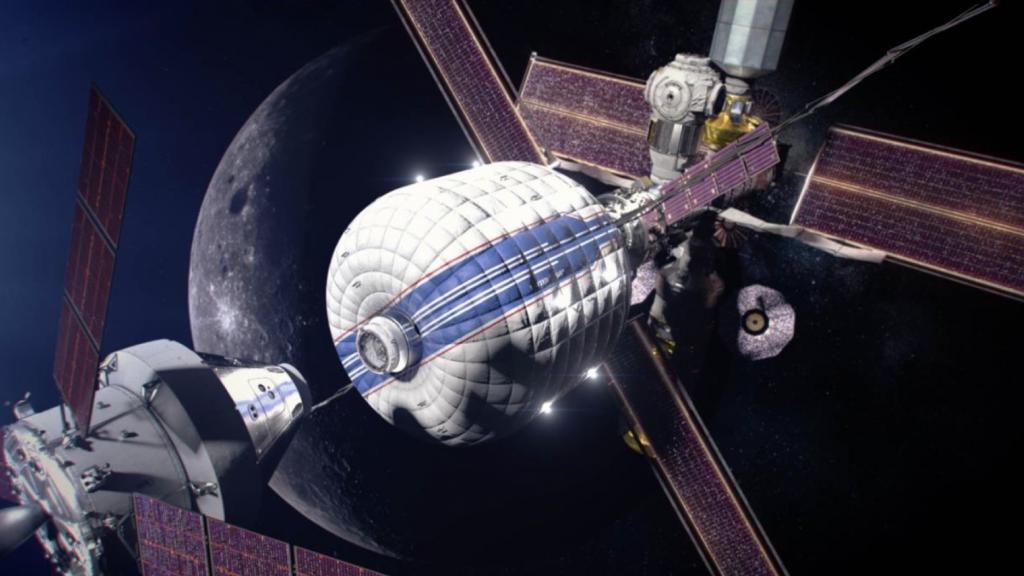 Zo moet het Gateway-ruimtestation (rechts in beeld) eruit gaan zien.