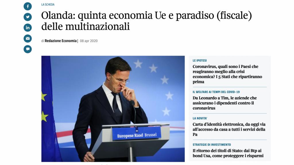 Nederland fiscaal paradijs schrijft Italiaanse krant Corriere della sera