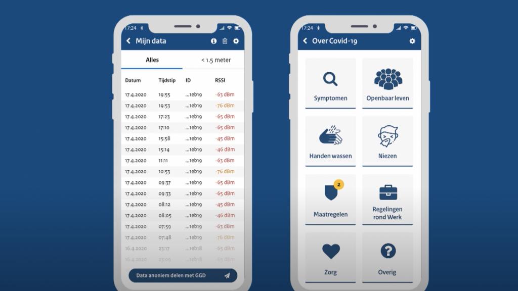 De corona-app van Capgemini: links zie je alle contactmomenten, rechts meer informatie.