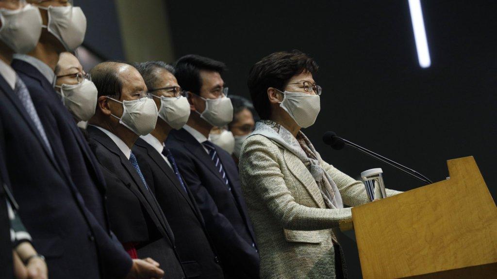 Persconferentie van Hongkong-leider Carrie Lam.