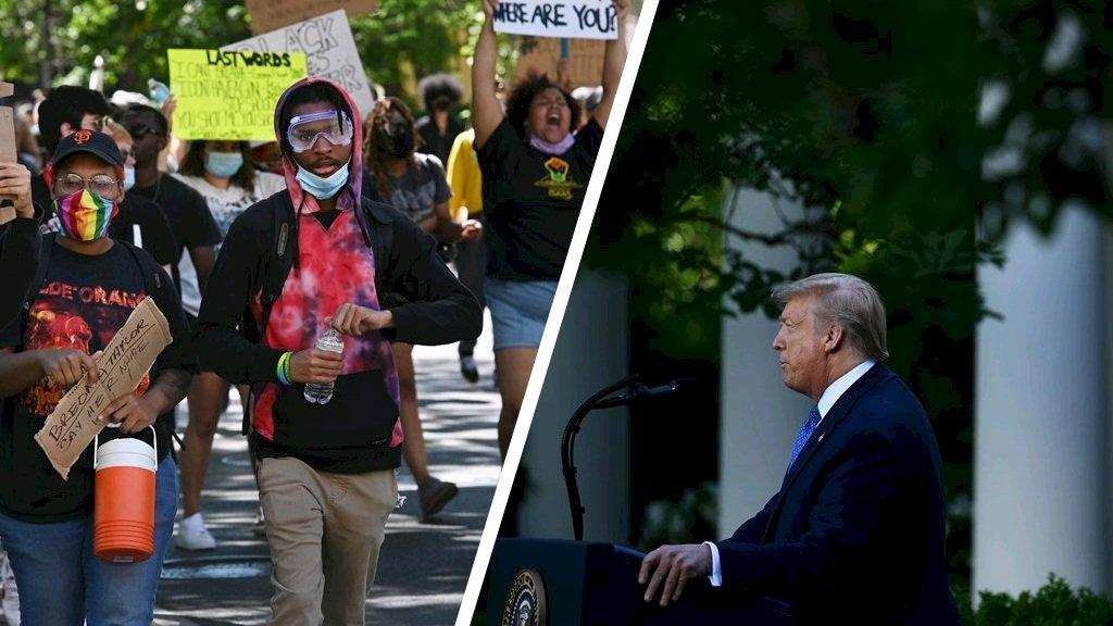 Demonstranten bij het Witte Huis en de Amerikaanse president Donald Trump.