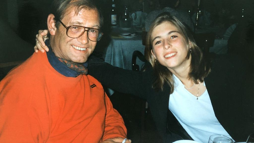 Nathalie en haar vader in 1996