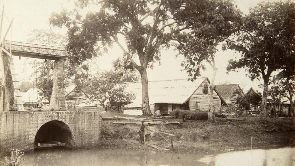 Beeld van plantage Alliance tussen 1890 en 1910.