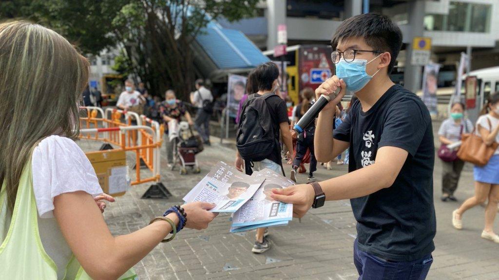 Joshua Wong tijdens een van zijn laatste politieke activiteiten.