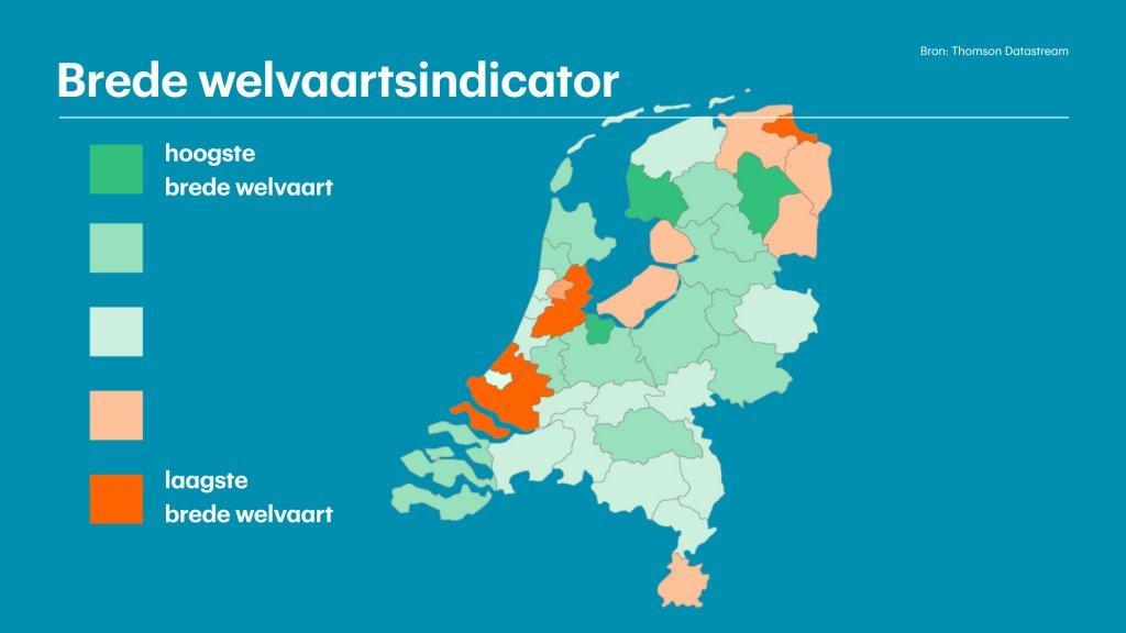 Brede welvaart, in kaart gebracht door de RaboResearch en Universiteit Utrecht.