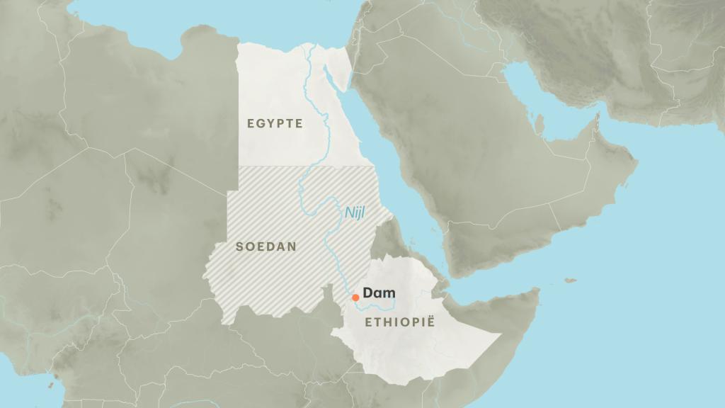 Stroomgebied van de Nijl en locatie van de dam