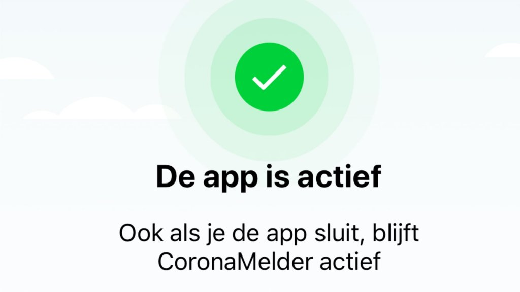 De app draait op de achtergrond.