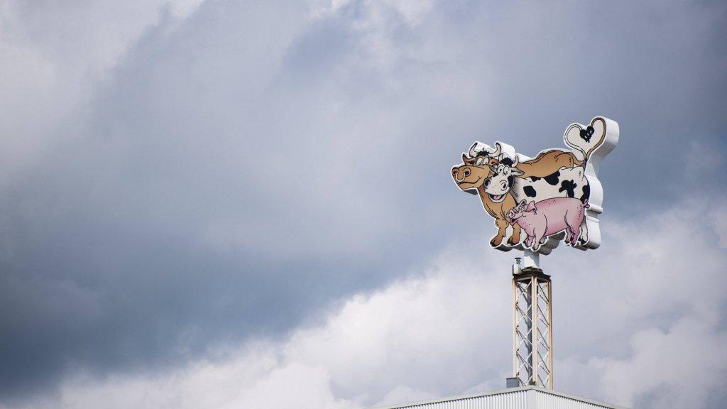 Het logo op het dak van de immense vleesfabriek van Tönnies in Gütersloh.