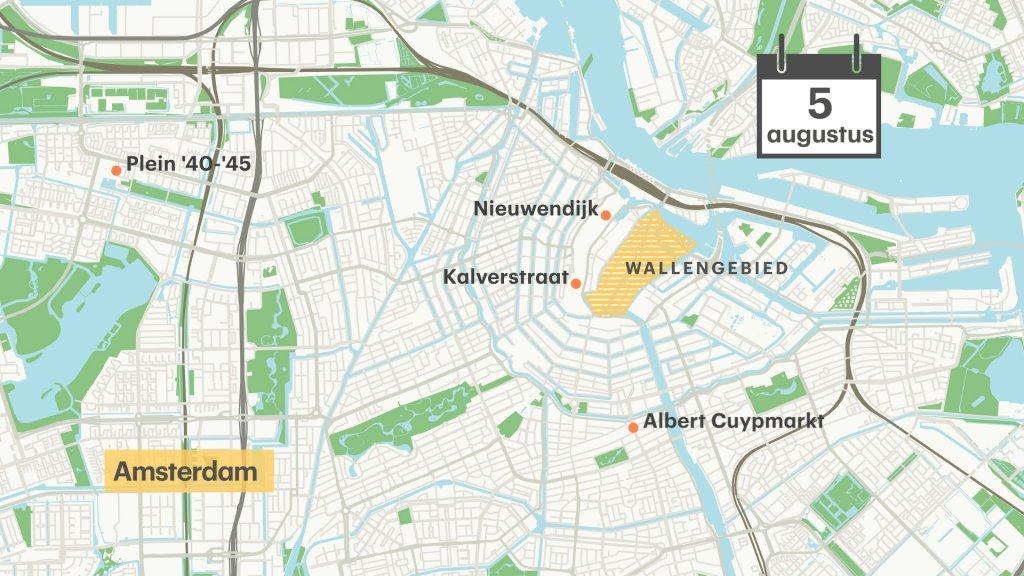 Het gebied in Amsterdam waar de draagplicht 5 augustus wordt ingevoerd.