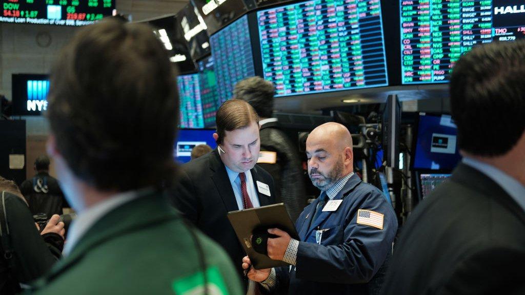 Beurshandelaren op Wall Street.