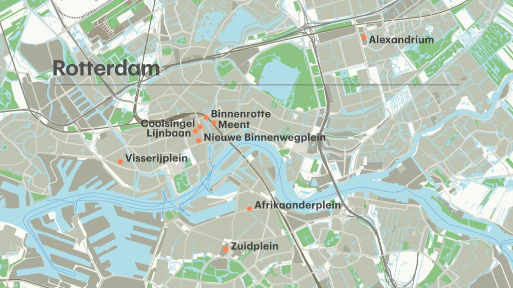 De locaties in Rotterdam.