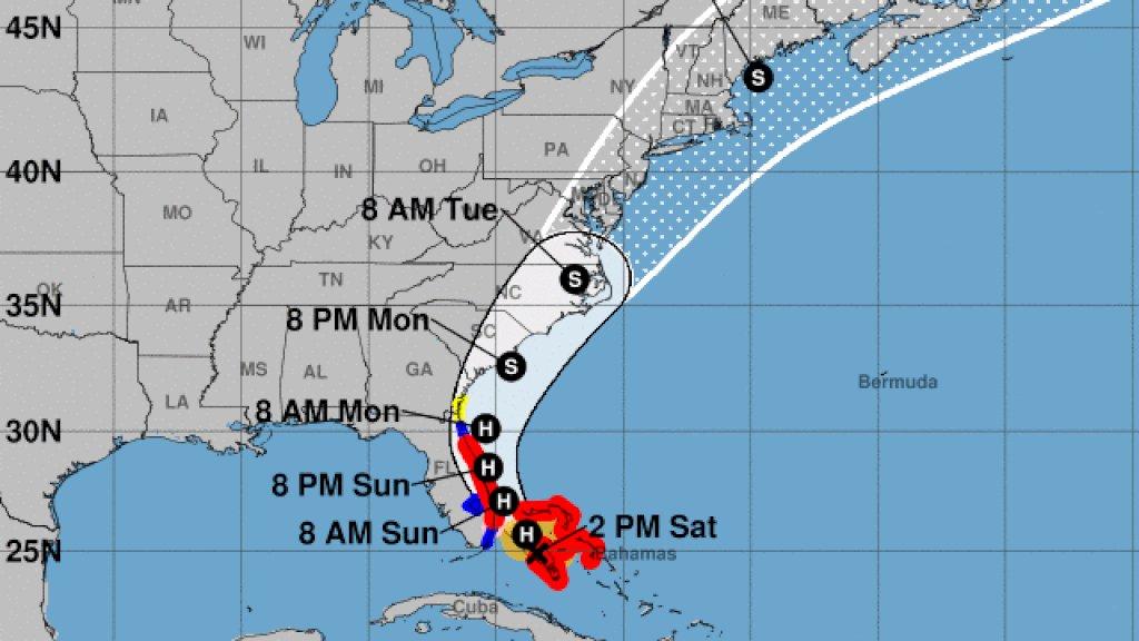 Het pad van de orkaan voor de komende dagen.