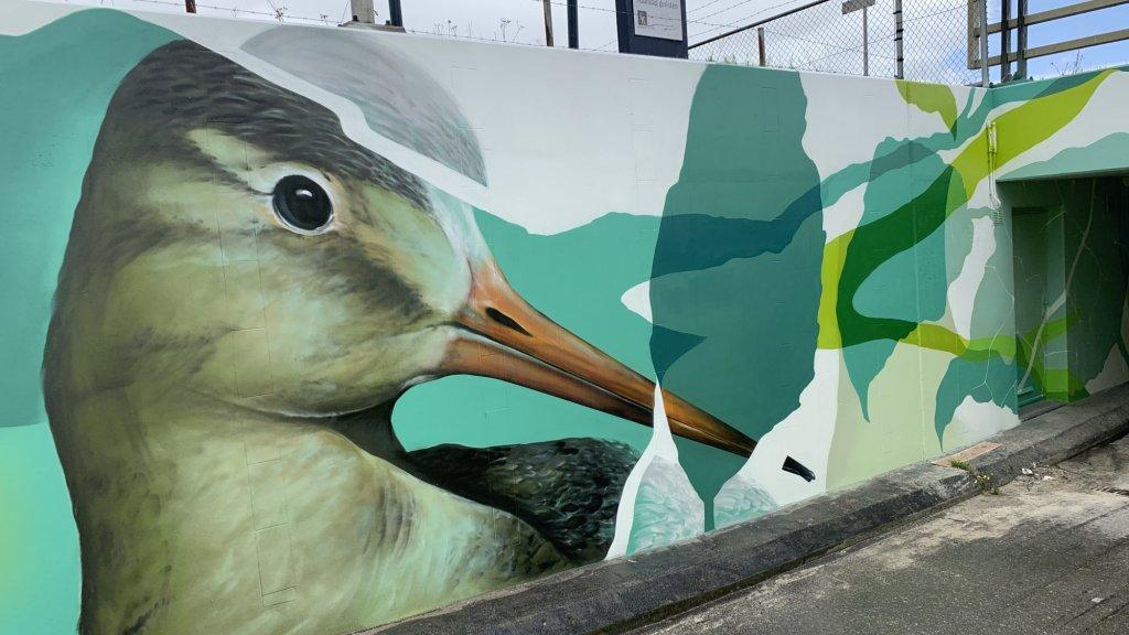 Een muurschildering in Voorschoten.