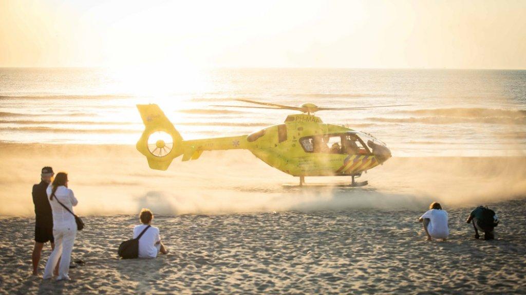 Een traumahelikopter in Zandvoort.