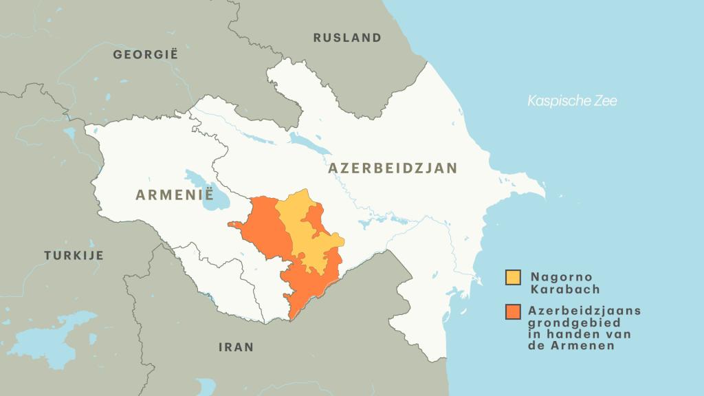 Kaart van Nagorno-Karabach en de omliggende gebieden die in handen zijn van de Armenen