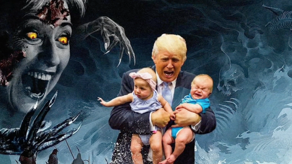 Een van de afbeeldingen die door QAnon-volgelingen gedeeld wordt. Donald Trump is volgens hen de enige die redding kan brengen.